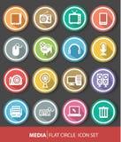 Media pictogrammen, Kleurrijke versie Stock Foto