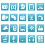 Media pictogrammen op blauwe vierkanten Royalty-vrije Stock Foto