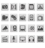 Media pictogrammen op grijze vierkanten Royalty-vrije Stock Foto's