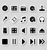 Media pictogrammen op stikers Stock Afbeeldingen