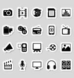 Media pictogrammenstickers Royalty-vrije Stock Afbeeldingen