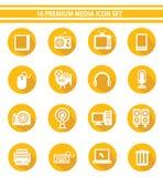 16 media Pictogramreeks, Gele versie Stock Fotografie