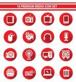 16 media Pictogramreeks, Rode versie Royalty-vrije Stock Fotografie