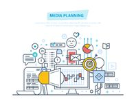 Media planning, digital marketing, promotion in social network, online business. Media planning, digital marketing, advertising, promotion in social network Stock Photo