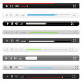 Media player. Set of nine different media players on white background Royalty Free Stock Photo