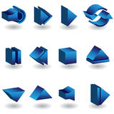 Media Player 3D Icon Set. Set of 3D media icons in a three dimensional style Royalty Free Stock Photo