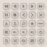 Media player button icons set with long shadow. Vector illustration Royalty Free Stock Photos