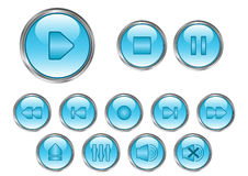 Media player buttons. Blue media player buttons with highlights-vector illustration Stock Photo