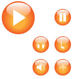Media player buttons. Music media player screen icons Royalty Free Stock Photography