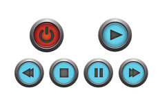 Media player buttons. Set of media player buttons Royalty Free Stock Photos
