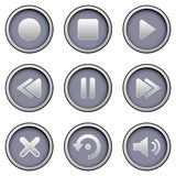 Media Player Buttons. An illustrated set of buttons for a media player, isolated on a white background Stock Images