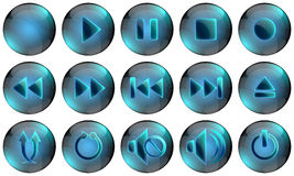 Media Player Buttons. Set of glossy media buttons Stock Photography
