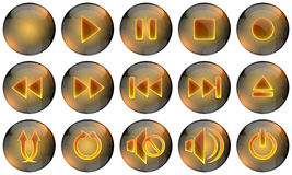 Media Player Buttons. Set of glossy media buttons Stock Image
