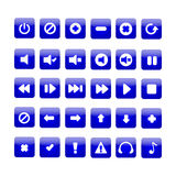 Media player buttons. On  background Stock Photography