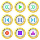 Media player buttons collection. Royalty Free Stock Image