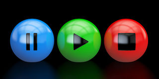 Media player buttons, 3D rendering. On black background Stock Photo