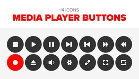 14 Media player buttons vector illustration
