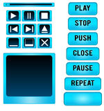 Media player buttons vector design elements Royalty Free Stock Photography