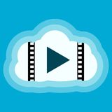 Media Player Cloud Icon. On blue Royalty Free Stock Images
