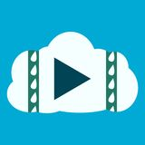 Media Player Cloud Icon. On blue background Stock Photo