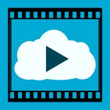 Media Player Cloud Icon. On blue background Royalty Free Stock Photos