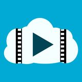 Media Player Cloud Icon. On blue background Stock Photography