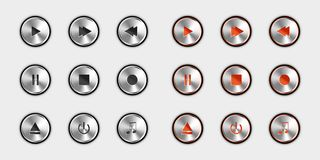 Media Player Control Icon Set - Switched Off And Switched On Version - Silver Metallic Vector Illustration - Isolated On White. Background vector illustration