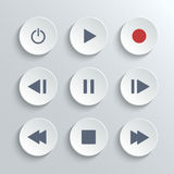 Media player control round button ui icon set. Media player control ui icon set- vector white round buttons Royalty Free Stock Photography