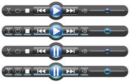 Media Player Controls/Rollover Buttons Stock Images
