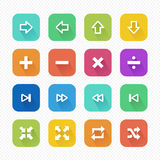 Media Player Flat Icons with Long Shadow set 1 - Vector illustration Stock Photos