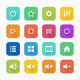 Media Player Flat Icons with Long Shadow set 2 - Vector illustration Stock Image