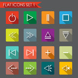 Media player flat icons. Set of media player icons. Flat Style illustration Royalty Free Stock Images