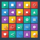 Media player flat vector icons with long shadow. Royalty Free Stock Image