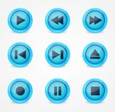 Media player glossy buttons collection Stock Photos