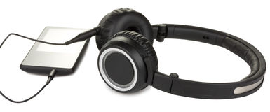 Media player and headphones Stock Image