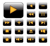 Media player icon. Black buttons with orange media player icon Stock Photos