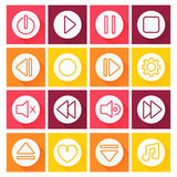 Media player icon set.Flat design Royalty Free Stock Photography