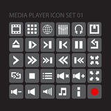 Media player icon set 01. Media player flat style  icon set for your web, mobile or any device Stock Image