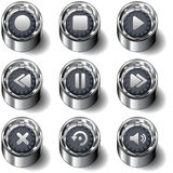 Media Player icon set on vector buttons. Full media player icon set on modern vector buttons, including forward, reverse, pause, stop, volume, play, refresh, and Royalty Free Stock Photos