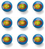 Media Player Icons. Placed in blue glass ball Royalty Free Stock Image