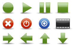 Media player icons | Glossy se. Glossy series part 3: collection of 12 colorful media player web icons Royalty Free Illustration