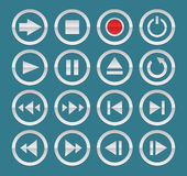 Media player icons Royalty Free Stock Photos