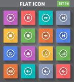 Media Player Icons set in flat style with long sha. Vector application Media Player Icons set in flat style with long shadows Stock Photography