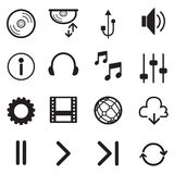 Media Player Icons Set. Multimedia. Isolated. Vector Illustratio Royalty Free Stock Photo
