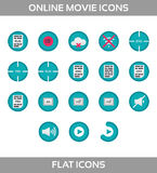 Media Player Icons Set. Multimedia. Isolated. Vector Illustration, pixel perfect set. Online movie theatre. Flat style without ounline vector illustration