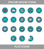 Media Player Icons Set. Multimedia. Isolated. Vector Illustration, pixel perfect set. Online movie theatre. Flat style with outline royalty free illustration