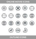 Media Player Icons Set. Multimedia. Isolated. Vector Illustration, pixel perfect set. Online movie theatre. Line art style stock illustration