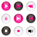 Media player icons. Set of nine vector media player icons on glossy buttons royalty free illustration