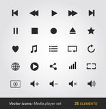 Media player icons set Stock Photography