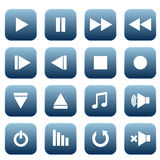 Media player icons set Royalty Free Stock Images